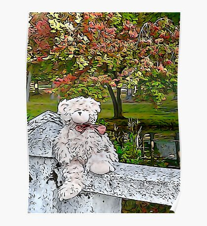 Teddy Bear by the Pond in Autumn Poster
