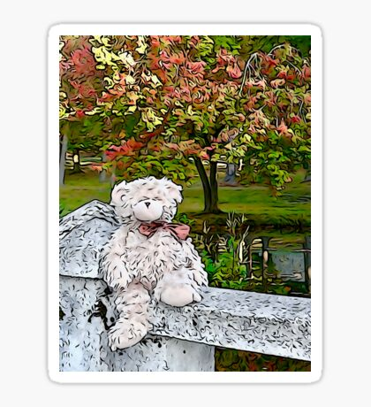 Teddy Bear by the Pond in Autumn Sticker