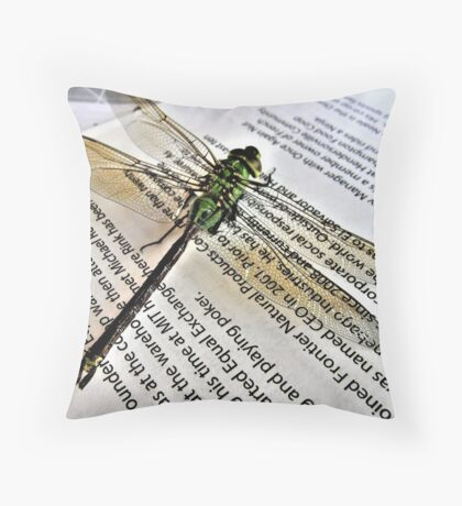 A Scholarly Dragonfly Throw Pillow