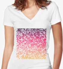 Terrazzo in pink, purple and yellow colors Women's Fitted V-Neck T-Shirt