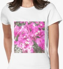 Pink flowers marble Women's Fitted T-Shirt