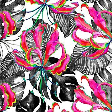 Flame lily tropical pattern by belokrinitski