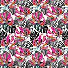 «Patrón tropical del lirio de la llama» de Elena Belokrinitski