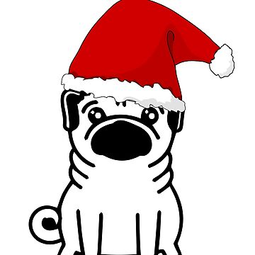 Pug dog Christmas Santa by Kristofsche