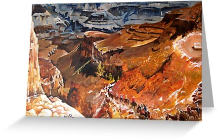 Mule Train at the Grand Canyon by Joy Skinner