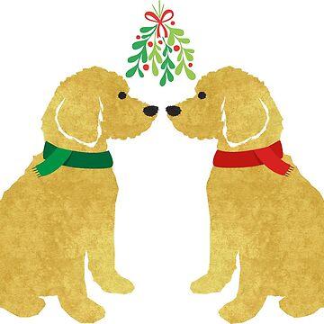 Goldendoodles Kissing Under Mistletoe by emrdesigns