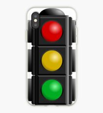 A traffic light with red, yellow and green lights iPhone Case