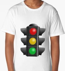 A traffic light with red, yellow and green lights Long T-Shirt
