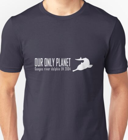 Endangered animals - Ganges river dolphin Our only planet white print T-Shirt