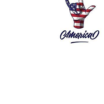 I Love You Hand Sign Gesture USA American Flag Cute by Teeleo