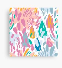 Abstract girly pink teal coral modern brushstrokes Canvas Print