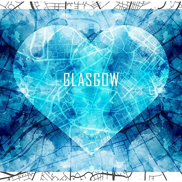 A map of Glasgow in the shape of a heart by IvonDesign