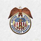 U.S. Merchant Marine - USMM Emblem over White Leather by Serge Averbukh