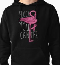 Flock You Cancer Art | Cool Flamingo Breast Cancer Gift Pullover Hoodie