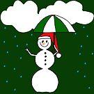ein lustiger Schneemann mit Regenschirm im Regen von rhnaturestyles