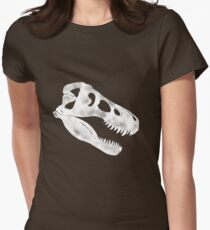 T.Rex Skull in White Women's Fitted T-Shirt