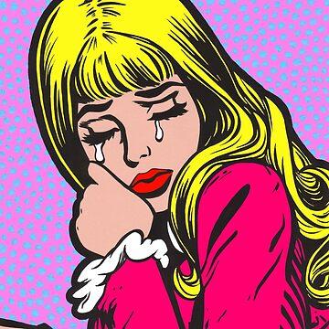 Blonde Bangs Crying Comic Girl by turddemon