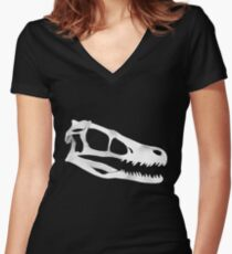 Velociraptor Skull in White Women's Fitted V-Neck T-Shirt