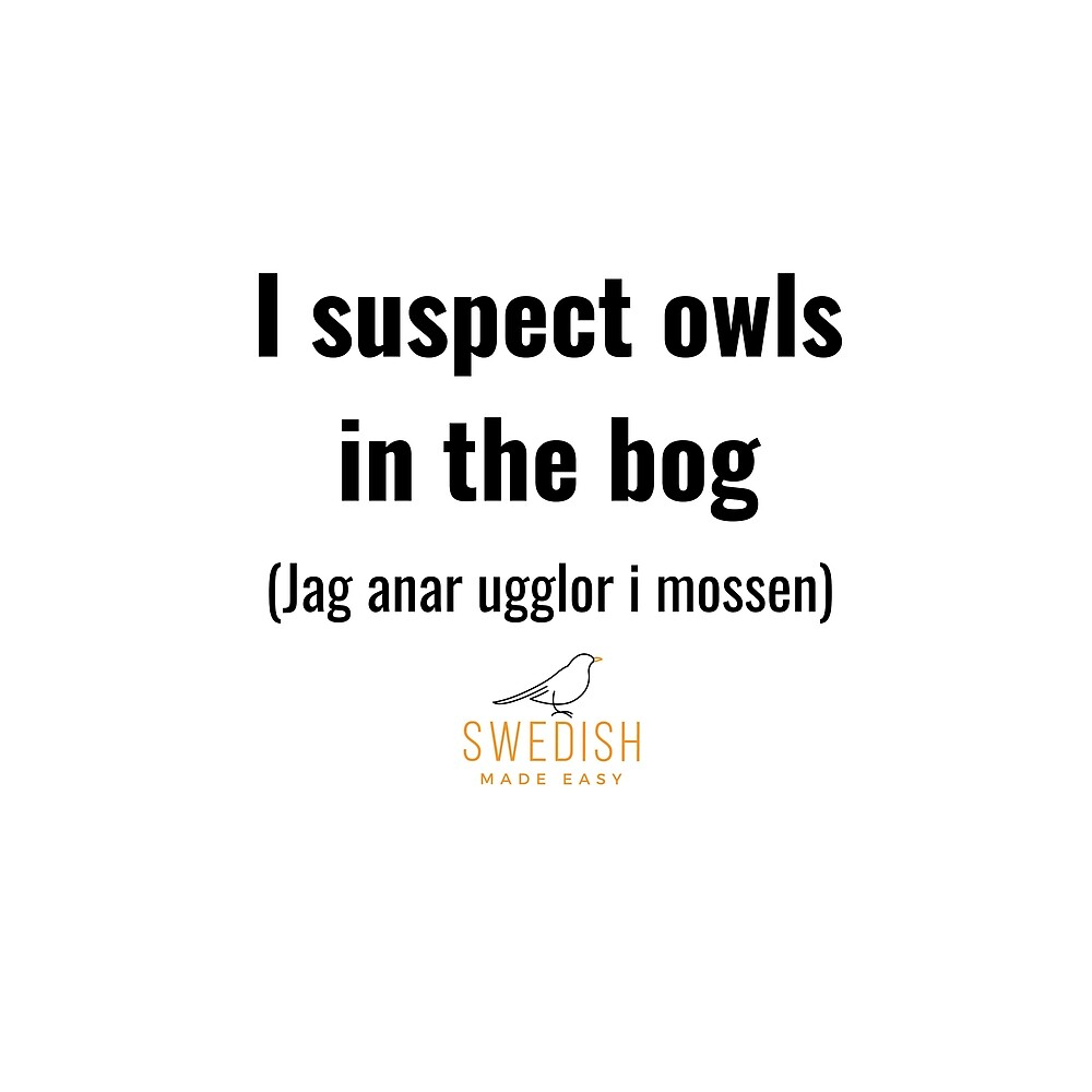 Swedish Sayings - I suspect owls in the bog by swedishmadeeasy