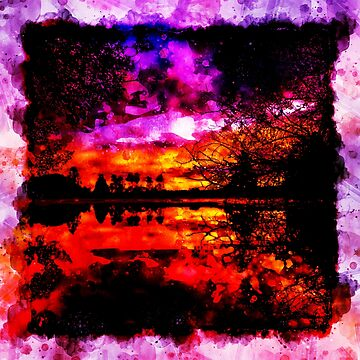 gxp colorful autumn lake sunset landscape perfect watercolor by gxp-design