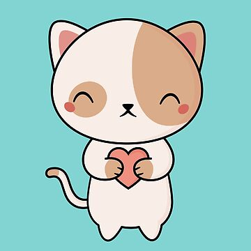 Kawaii Cute Kitten Cat With Heart by happinessinatee