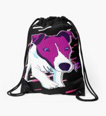 Dog funny Eighties Retro Violet and Purple Drawstring Bag