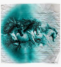 Water Colour Paint Horse - Crumpled School Paper Texture Poster