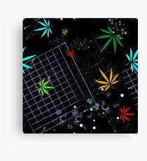 Colorful Marijuana Leaves and Grid Canvas Print