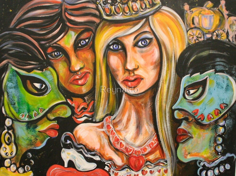 Cinderella with The Green Mask of Envy, and The Blue Mask of Jealously by Reynaldo