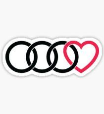 3 Audi Rings + Heart Sticker