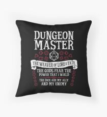 Dungeon Master, The Weaver of Lore & Fate - Dungeons & Dragons (White Text) Throw Pillow