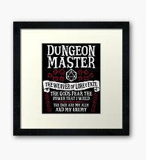 Dungeon Master, The Weaver of Lore & Fate - Dungeons & Dragons (White Text) Framed Print
