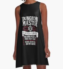 Dungeon Master, The Weaver of Lore & Fate - Dungeons & Dragons (White Text) A-Line Dress