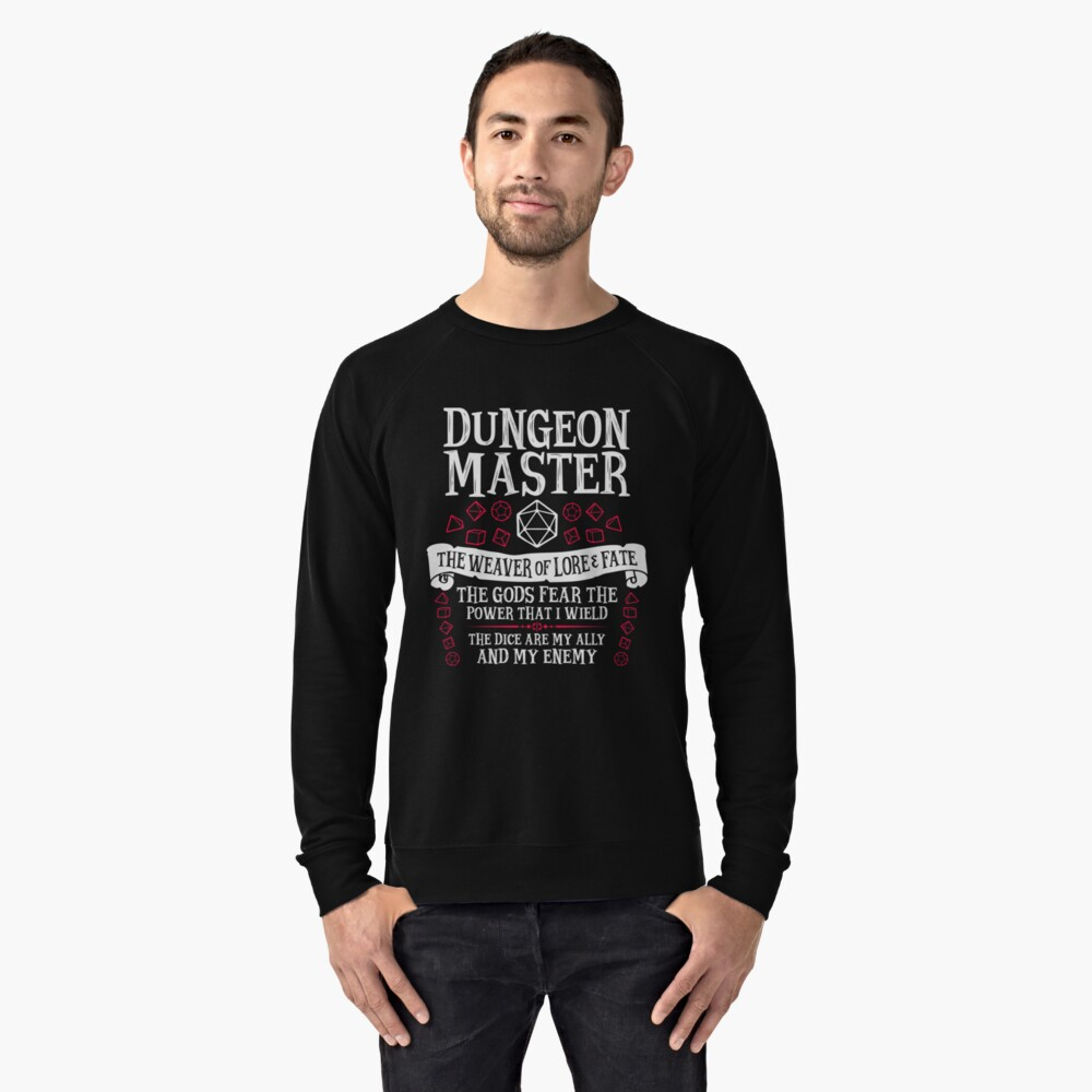 Dungeon Master, The Weaver of Lore & Fate - Dungeons & Dragons (White Text) Lightweight Sweatshirt Front