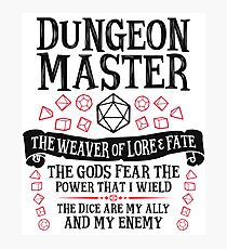 Dungeon Master, The Weaver of Lore & Fate - Dungeons & Dragons (Black Text) Photographic Print