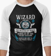 WIZARD, The Master of Magic - Dungeons & Dragons (White Text) Men's Baseball ¾ T-Shirt