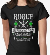 ROGUE, THE SHROUDED BLADE - Dungeons & Dragons (White Text) Women's Fitted T-Shirt