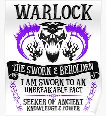 WARLOCK, THE SWORN AND BEHOLDEN - Dungeons & Dragons (Black Text) Poster