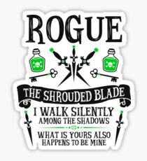 ROGUE, THE SHROUDED BLADE - Dungeons & Dragons (Black Text) Sticker