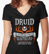 DRUID, THE CHAMPION OF NATURE - Dungeons & Dragons (Black) Women's Fitted V-Neck T-Shirt