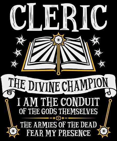 Cleric The Divine Champion Dungeons Dragons Black Posters By