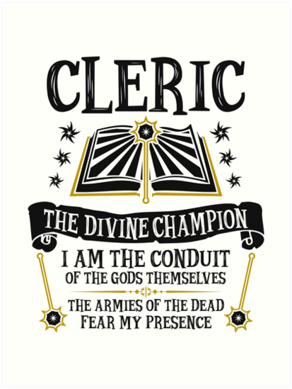 Cleric The Divine Champion Dungeons Dragons Black Art Prints