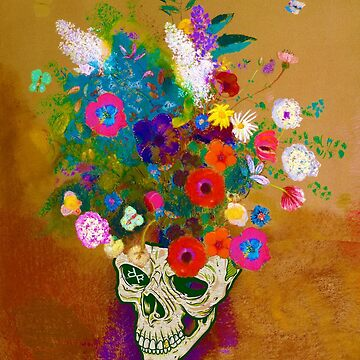 Punk Impressionist Flower Skull by RubinoCreative