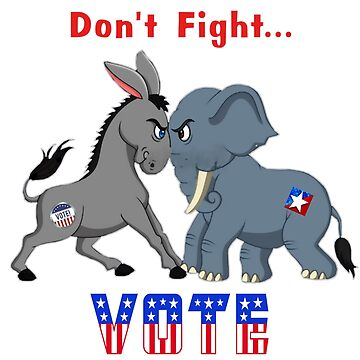 Elephant & Donkey ARGUING Don't Fight VOTE  by ElainePlesser