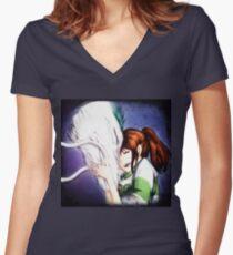 Spirited Away - Chihiro & Haku Women's Fitted V-Neck T-Shirt