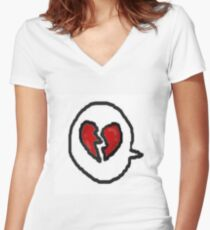 heart bubble Women's Fitted V-Neck T-Shirt
