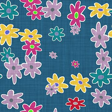 Whimsical Blue Floral Pattern by BuzzEdition
