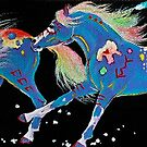 TURQUOISE PONIES IN THE FALLING SNOW by louisegreen