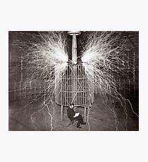 Tesla In Study Photographic Print