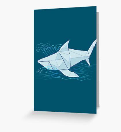 Origami Chomp Chomp On Blue Greeting Card